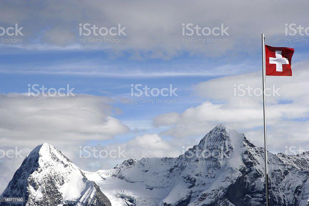 Swiss mountain range with flag royalty-free stock photo