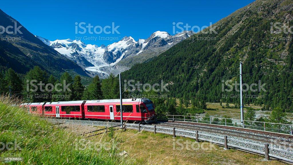 Swiss mountain train Bernina Express crossed Alps stock photo