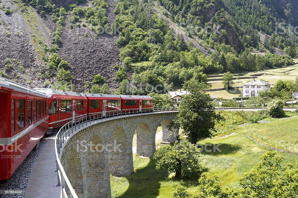 Swiss mountain train Bernina Express royalty-free stock photo
