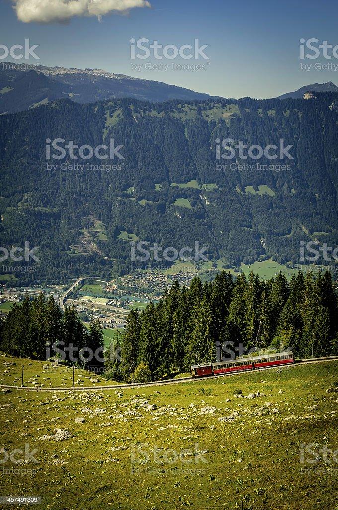 Swiss mountain train (Rack Railway) descending to Inerlaken royalty-free stock photo