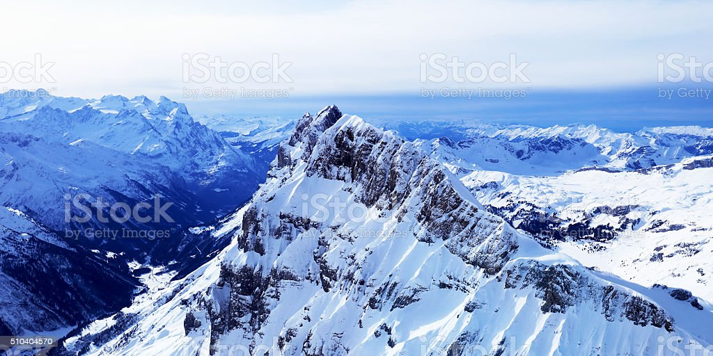 Swiss Mountains Panorama from Top of Mount Titlis, Engelberg stock photo