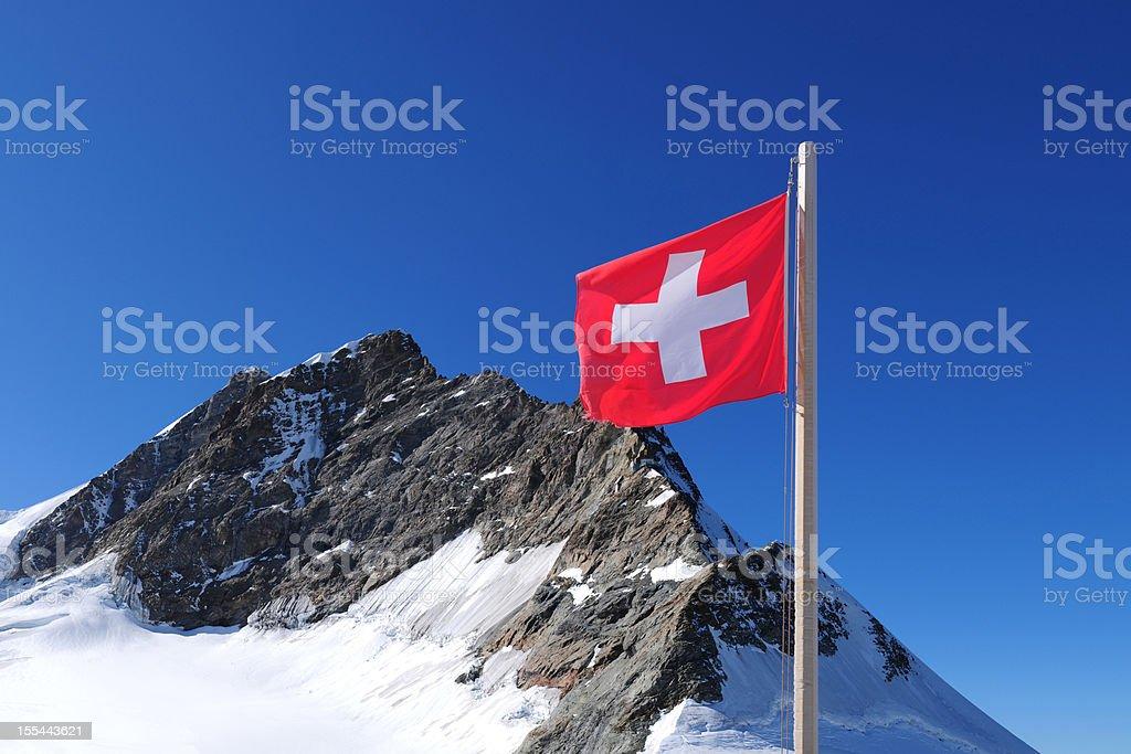 Swiss National Flag and Jungfrau Mountain Peak - XXXXXLarge stock photo