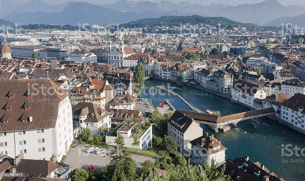 Suíça antiga cidade de luzerna foto de stock royalty-free