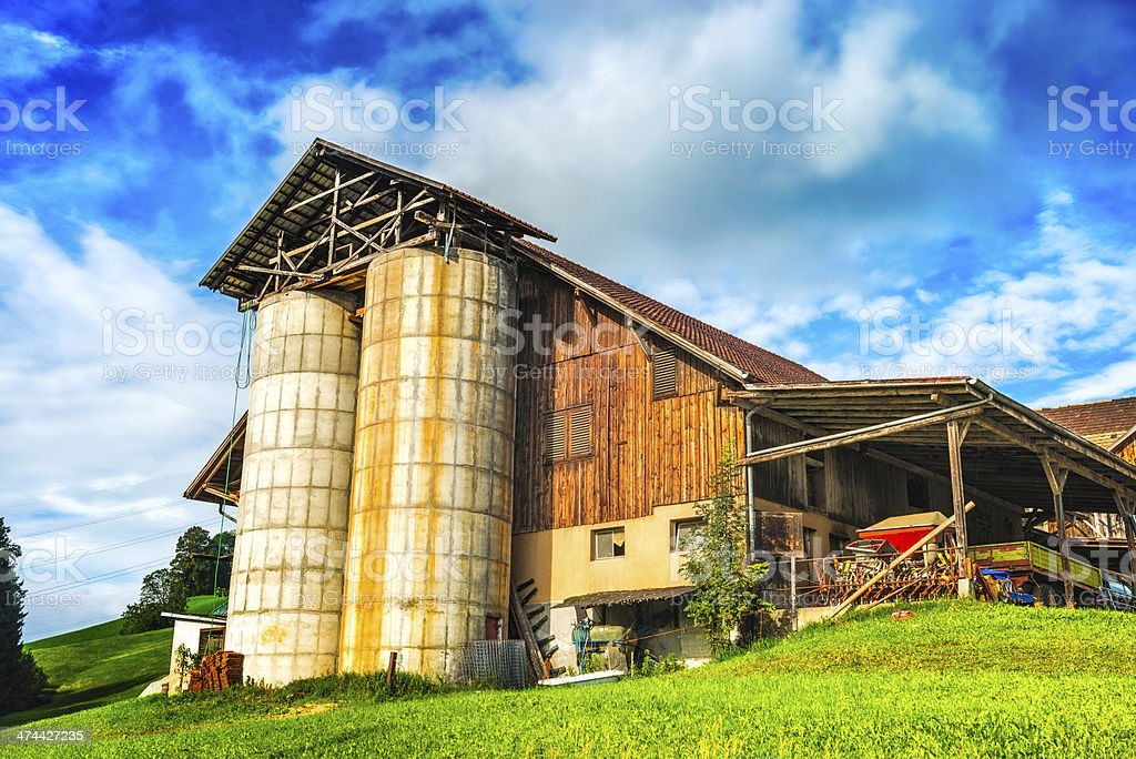 Swiss Old Fashioned Milk and Cheese Factory on Farmland stock photo