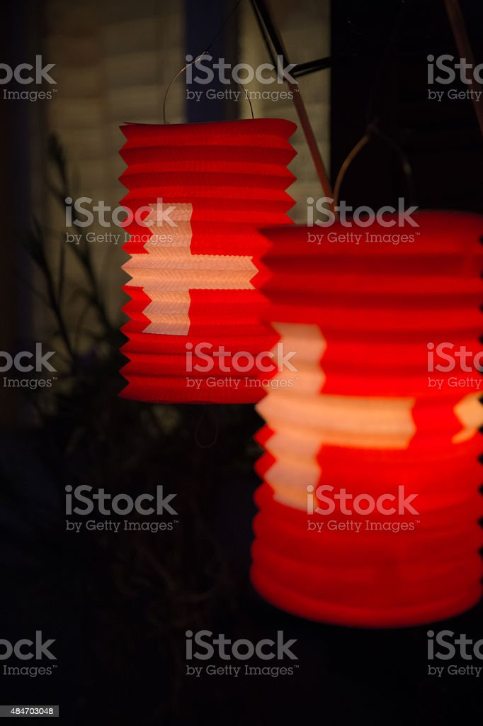 Swiss paper lanterns stock photo