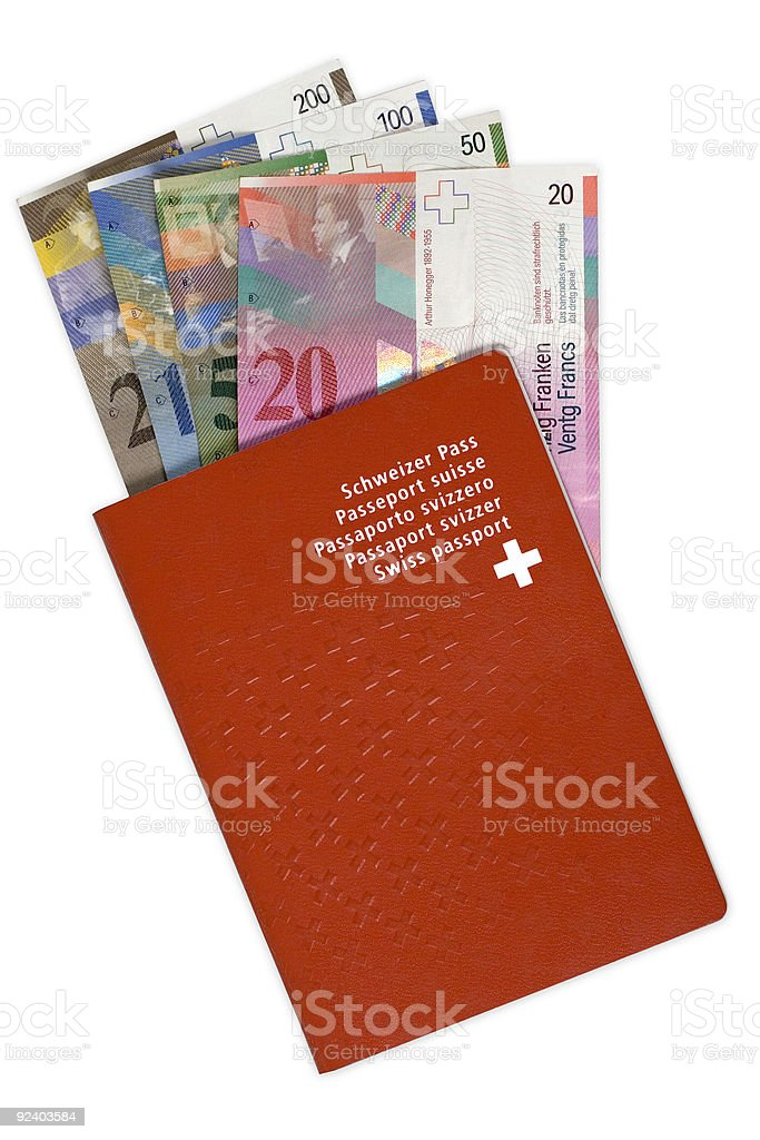 Swiss Passport and Money royalty-free stock photo
