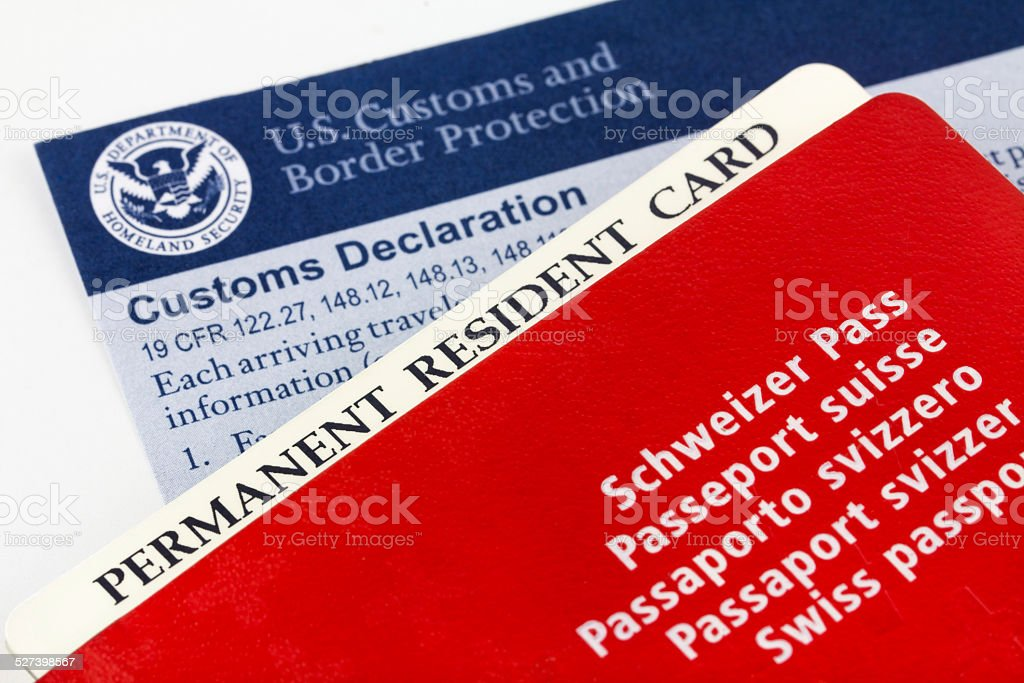 Swiss passport, resident card and customs form stock photo
