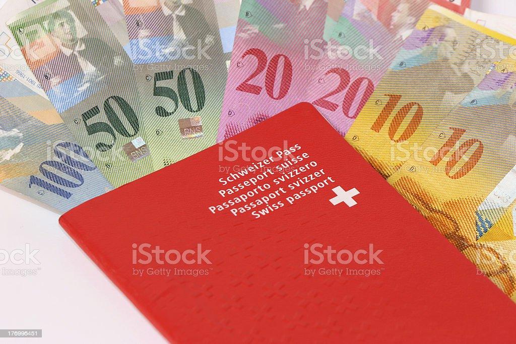 Swiss passports with money IIII royalty-free stock photo