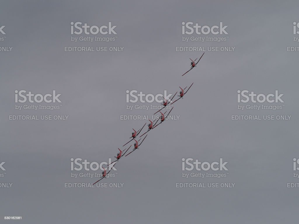 Swiss PC-7 Team in action stock photo