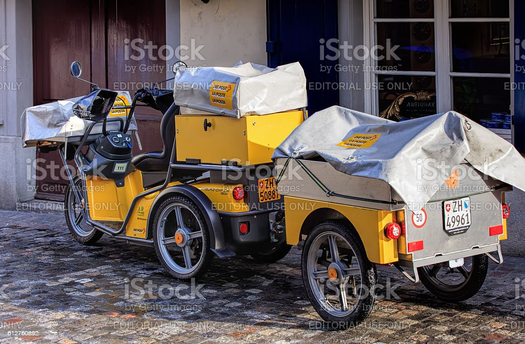 Swiss Post electric powered tricycle stock photo