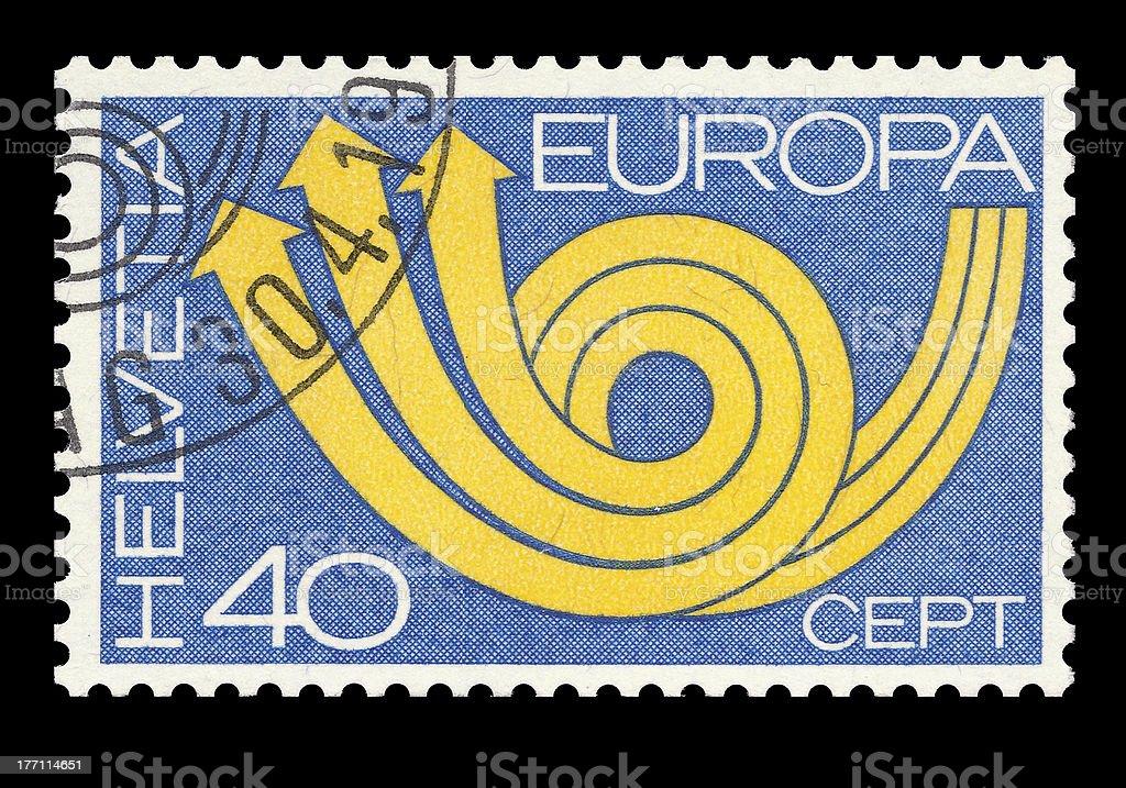 Swiss post stamp stock photo