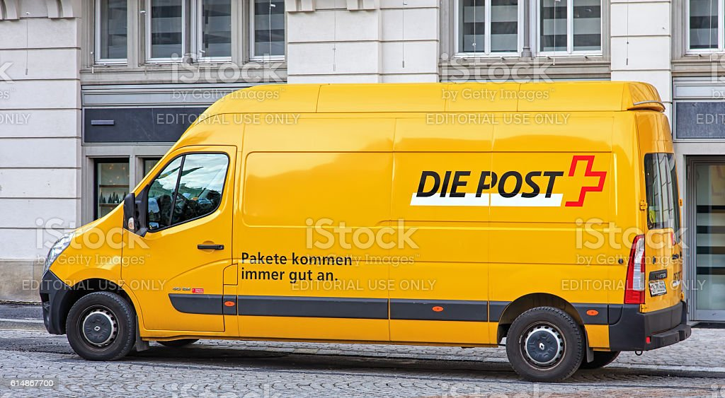 Swiss Post van in Zurich old town stock photo