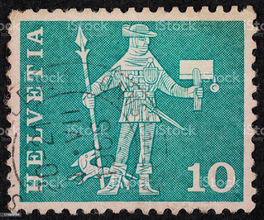 Swiss postage stamp royalty-free stock photo