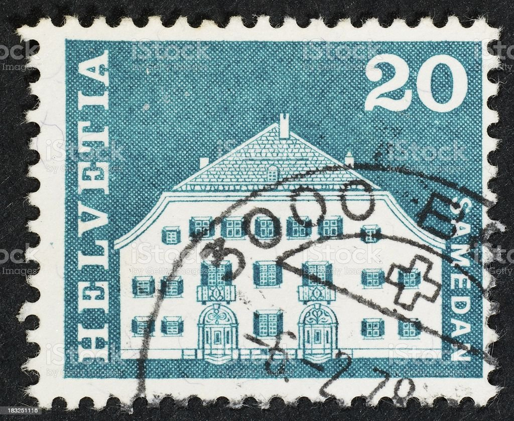 Swiss postage stamp stock photo