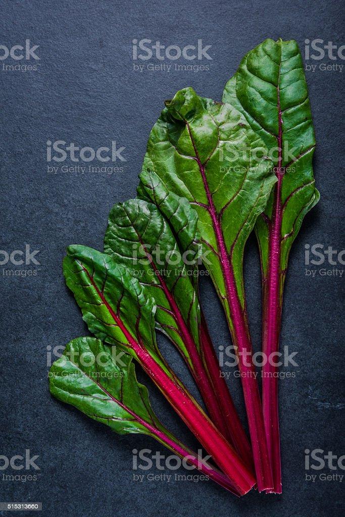Swiss rainbow chard, vibrant vegetable stock photo
