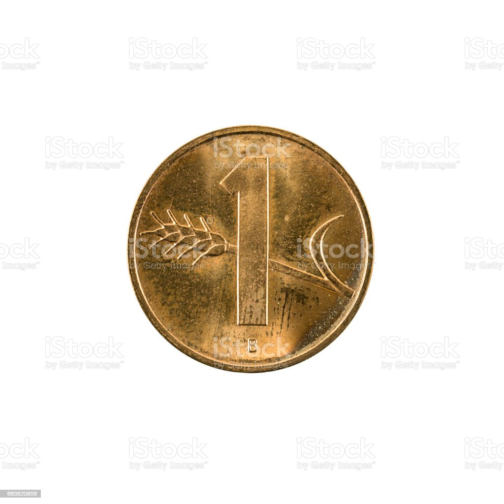 1 swiss rappen coin (2002) obverse isolated on white background stock photo