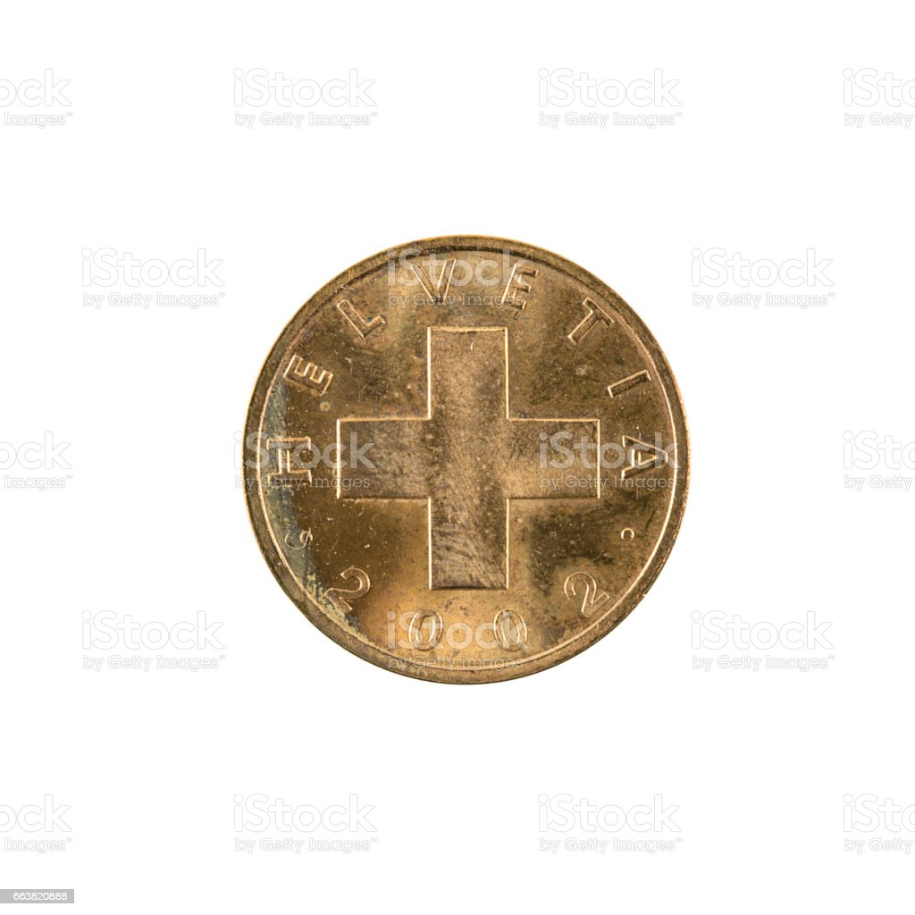 1 swiss rappen coin (2002) reverse isolated on white background stock photo
