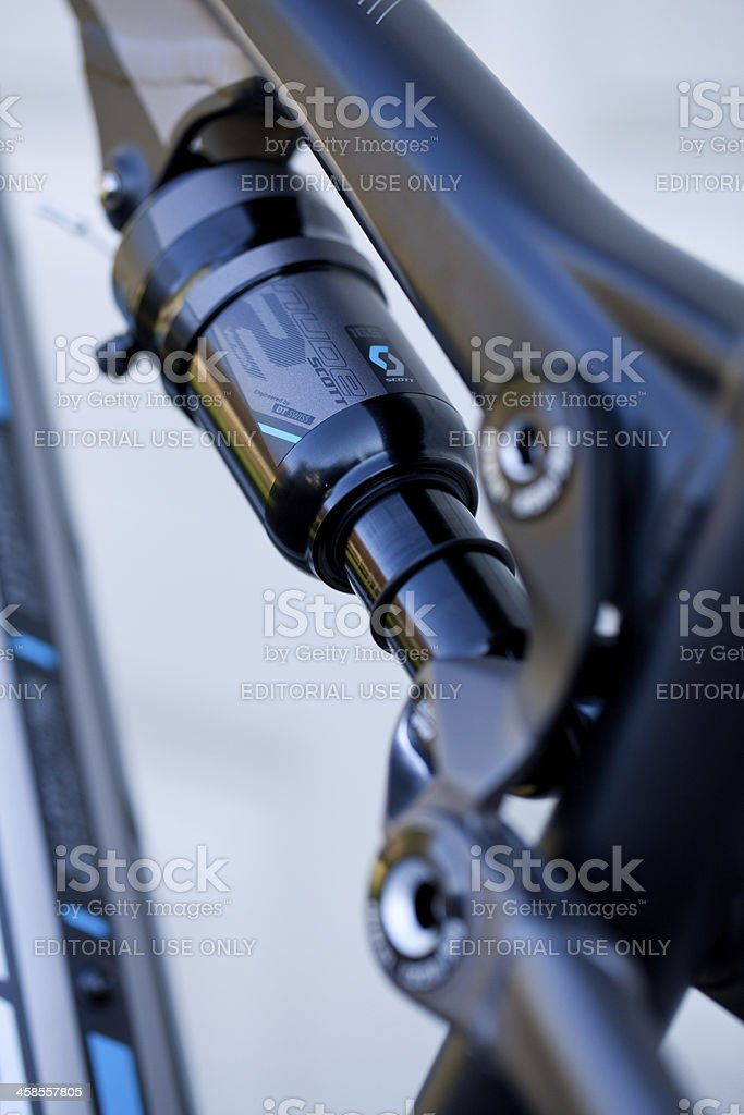 DT Swiss rear suspension system on mountain bike stock photo