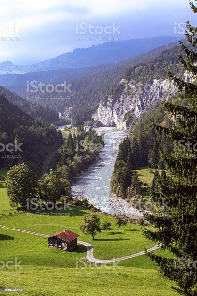 Swiss Rhine Valley in autumn stock photo