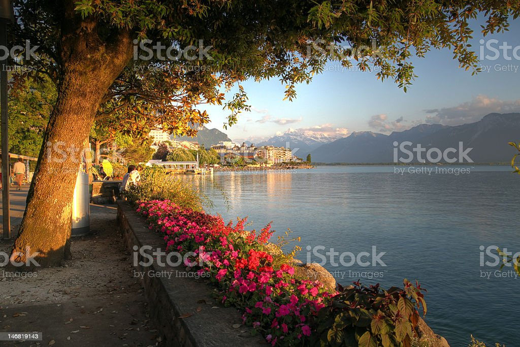 Swiss riviera at Montreux stock photo