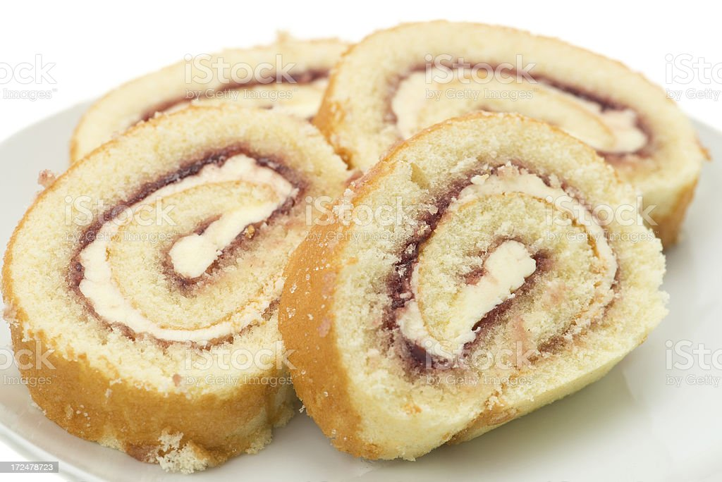 Swiss roll sponge cake royalty-free stock photo