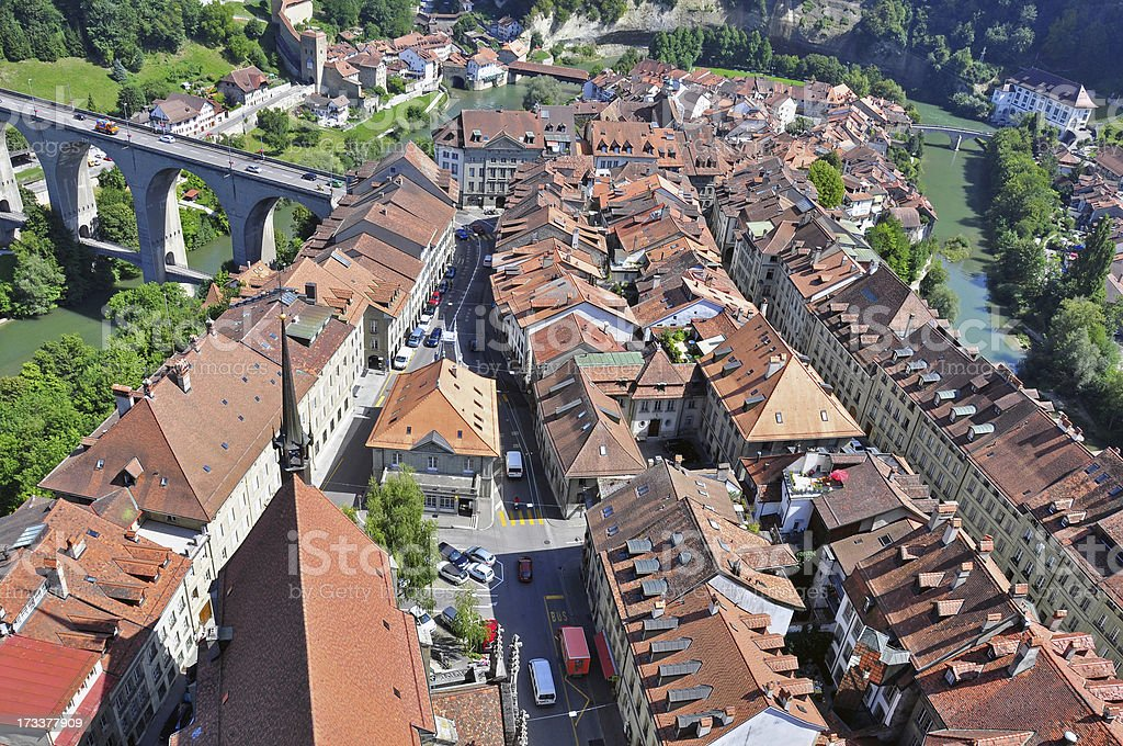 Swiss roofs and viaduct stock photo