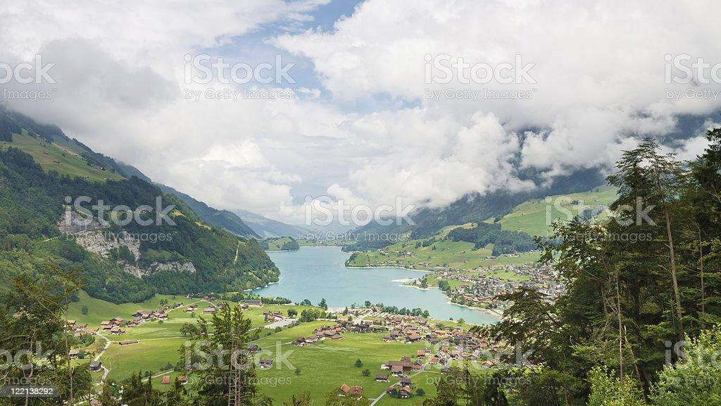 Swiss Scenery at Lungerersee, Obwalden, Switzerland stock photo