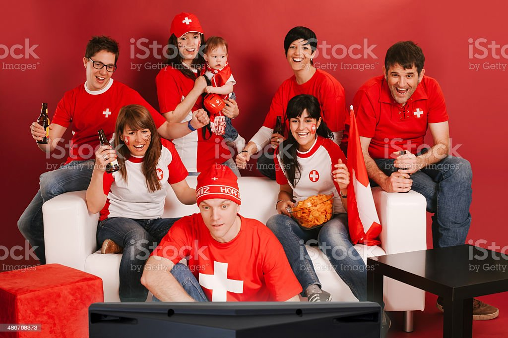 Swiss sports fans excited about the game stock photo