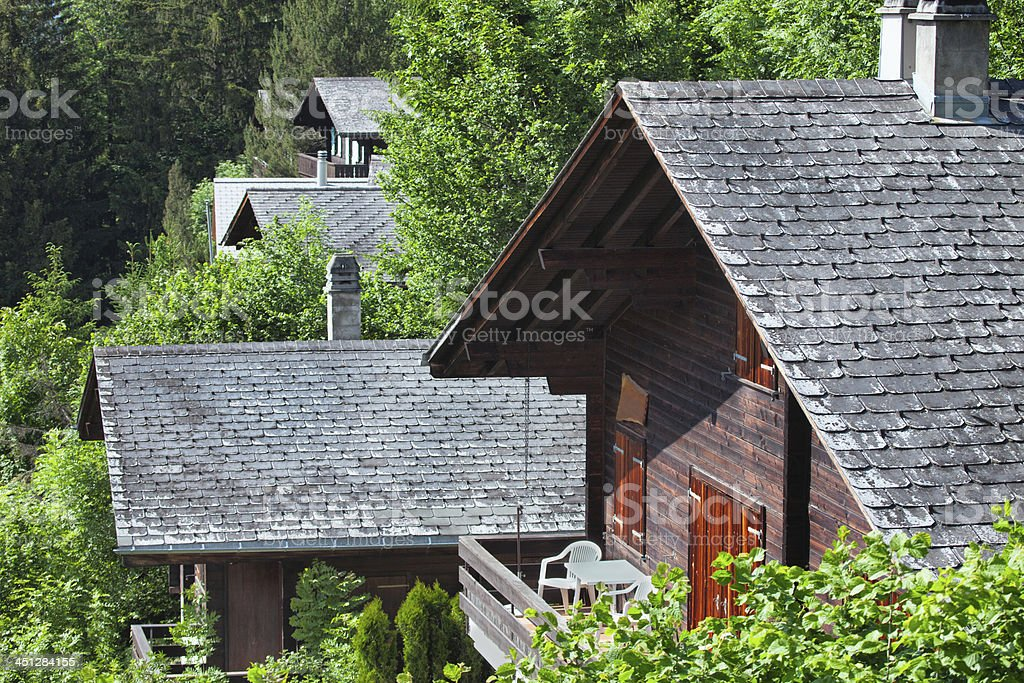 Swiss Summer Vacation Chalets above Lenk, Bernese Oberland royalty-free stock photo