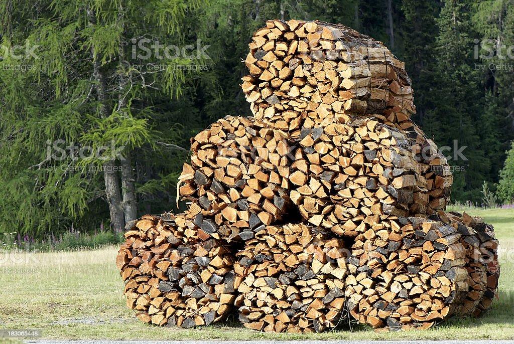 Swiss timber stack stock photo