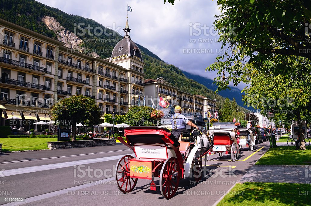 Swiss Tourist Town of Interlaken. Grand Hotel Victoria stock photo