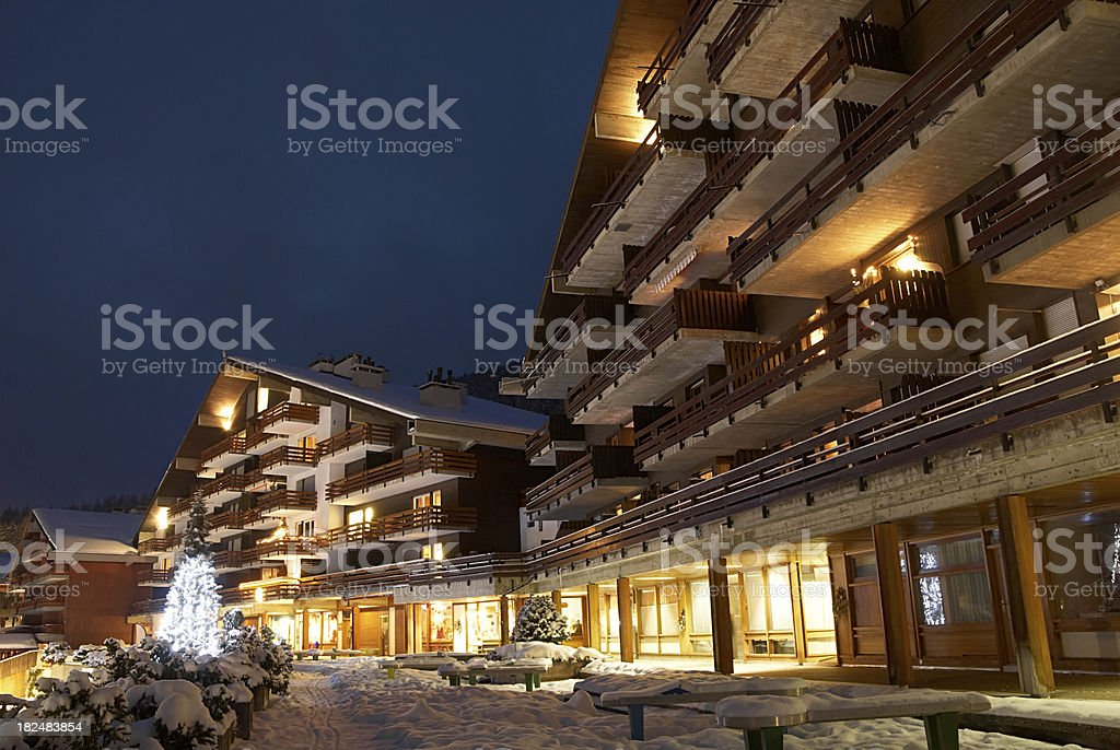 Swiss town by night at Christmas time stock photo