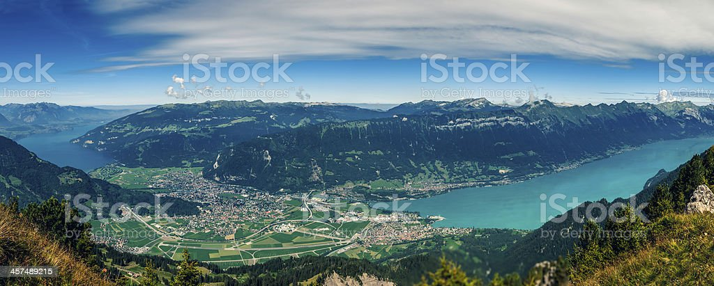Swiss town of Interlaken with Thun and Brienze lakes (II) stock photo