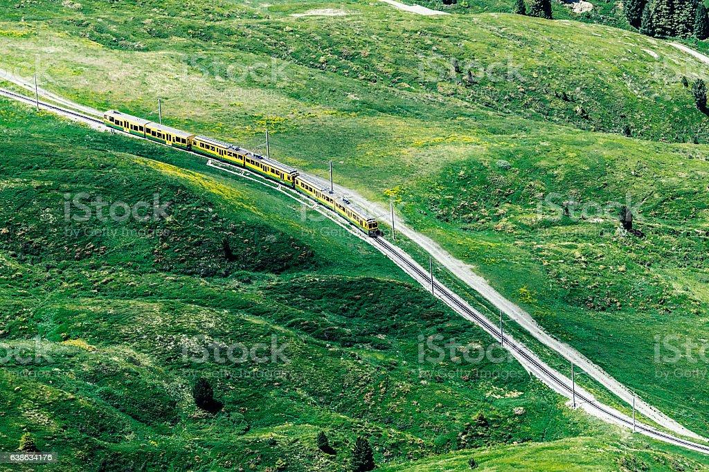 Swiss train, Kleine Scheidegg to Grindelwald stock photo