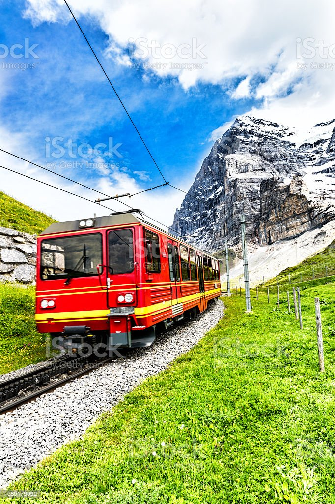 Swiss train with Eiger mountain stock photo