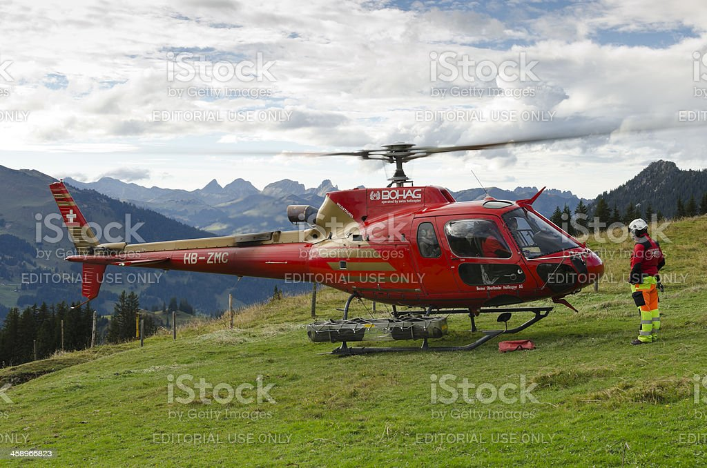 Swiss transport helicopter departing royalty-free stock photo