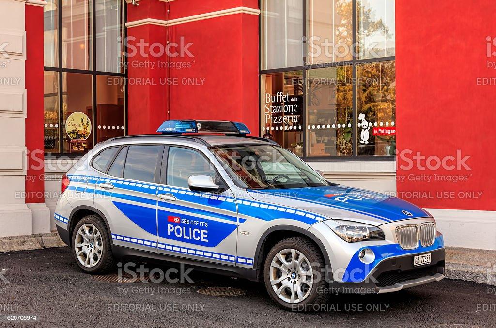 Swiss transport police car stock photo