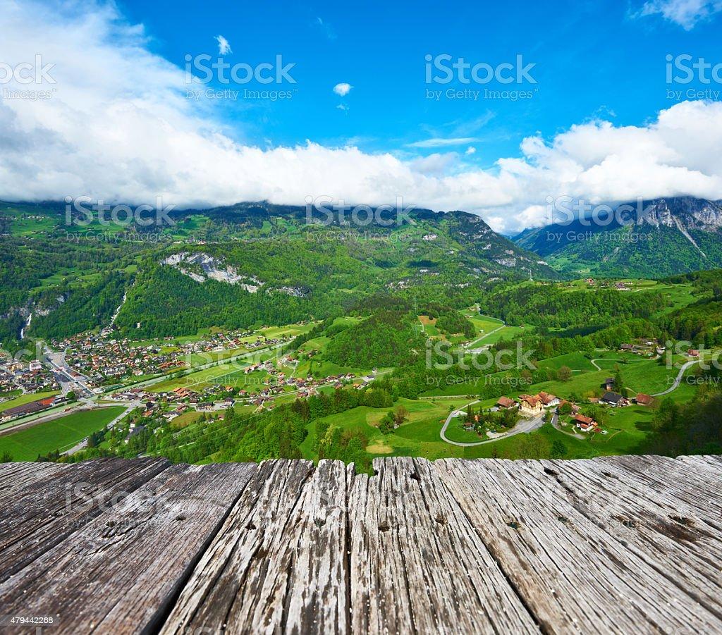 Swiss village at Alps stock photo