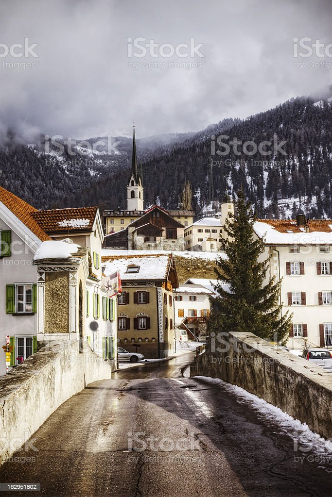 Swiss Village in the Alps royalty-free stock photo
