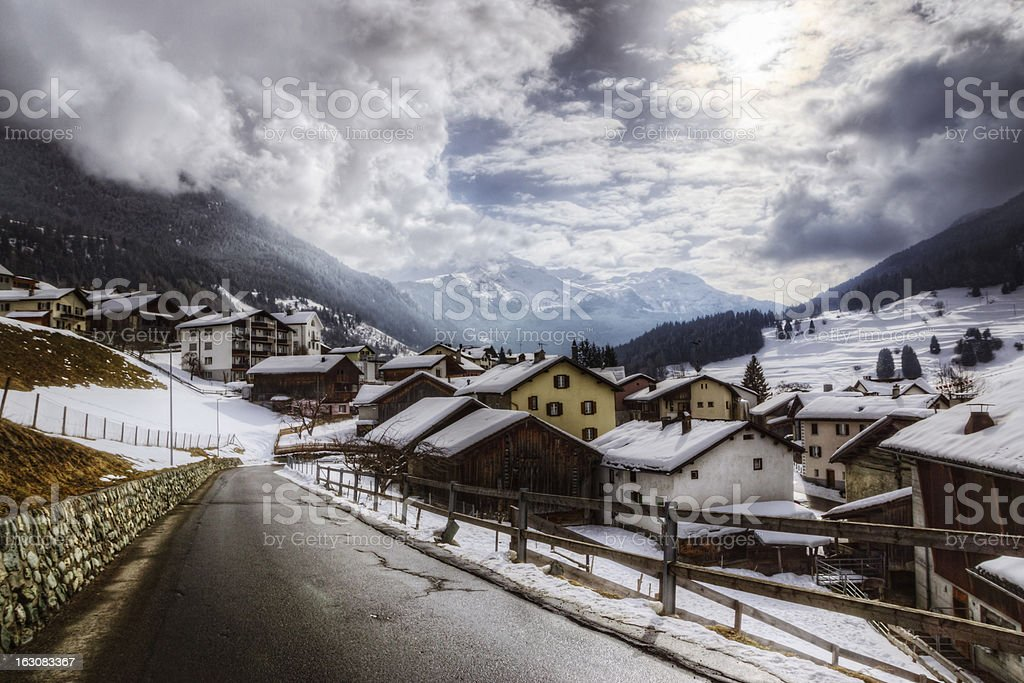 Swiss Village in the Alps stock photo