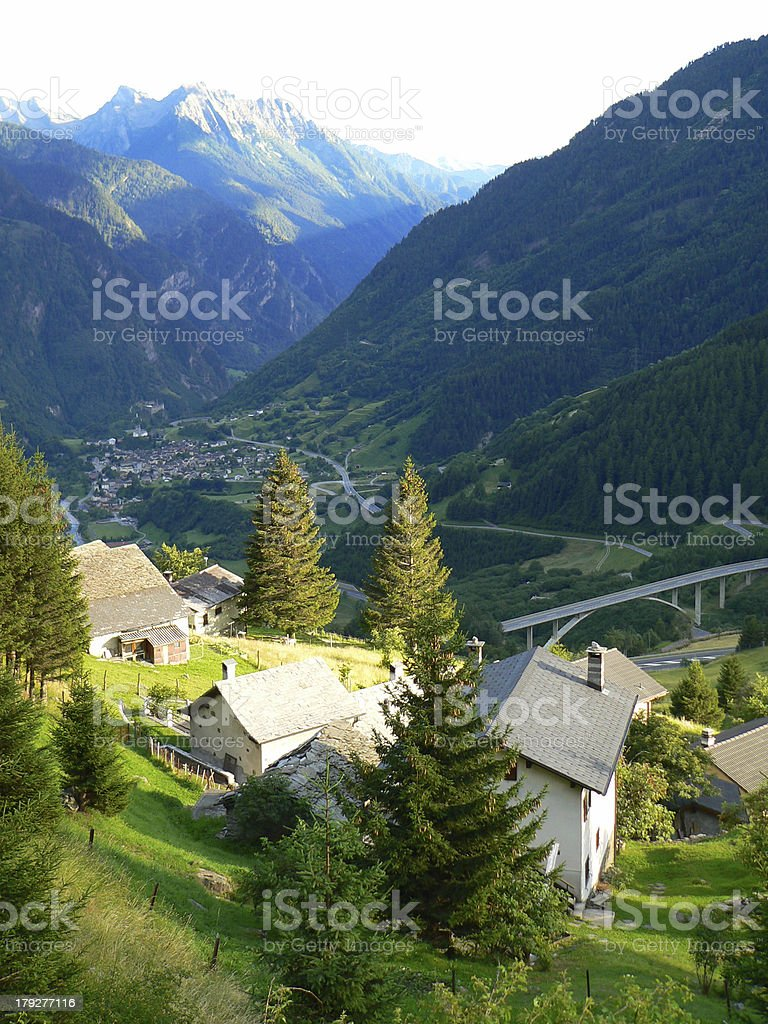 Swiss village in valley royalty-free stock photo