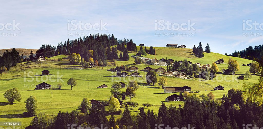 Swiss village on a hill panorama royalty-free stock photo