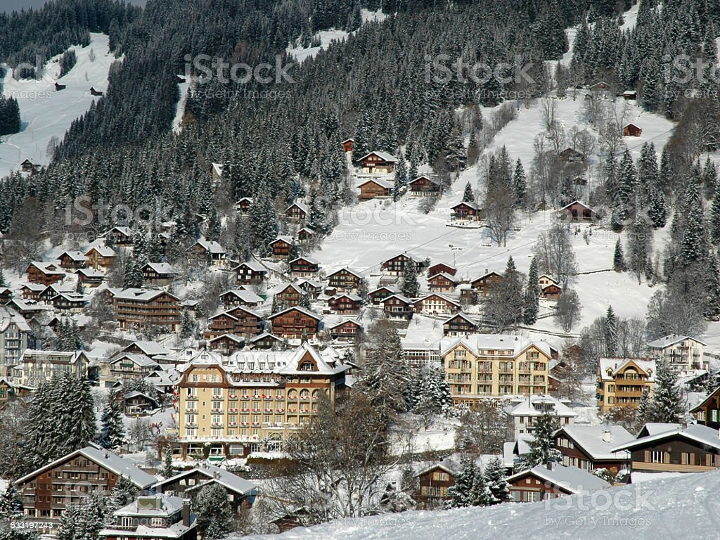Swiss Village Scene stock photo