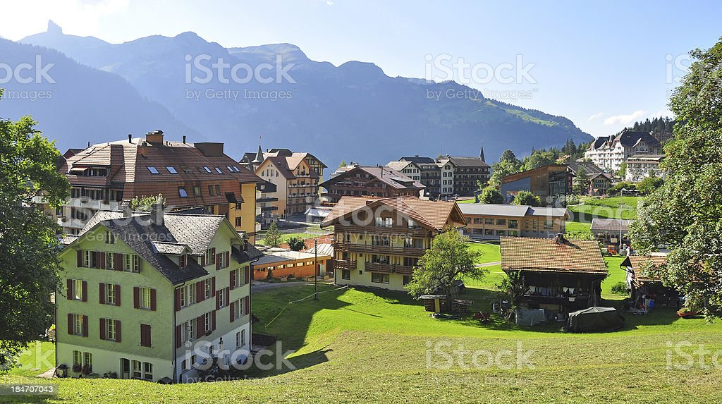 Swiss village Wengen royalty-free stock photo