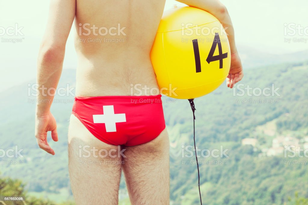 swiss waterpolo player on the grass ( not in the water ) stock photo