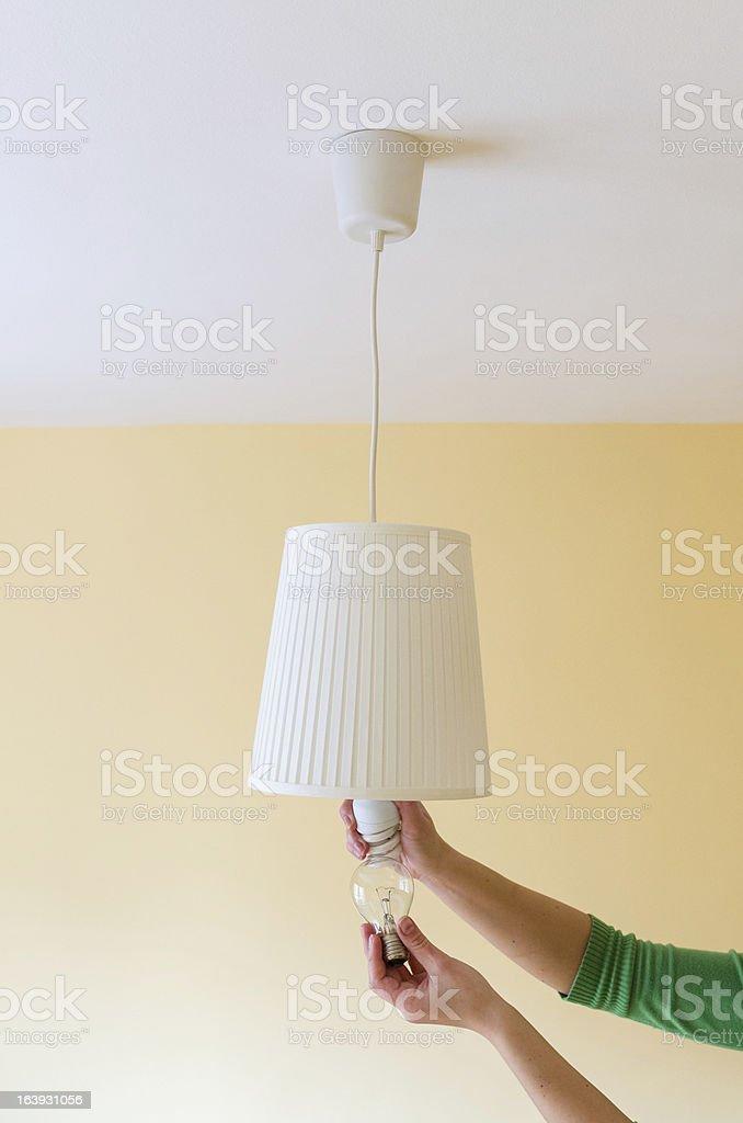 Switch on energy saving stock photo