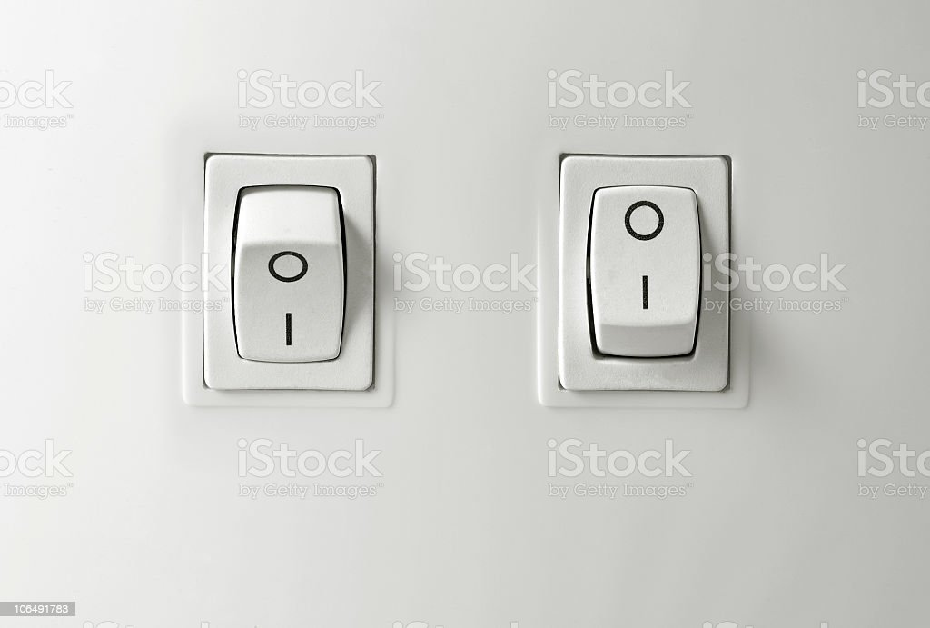 Switch on / off button stock photo
