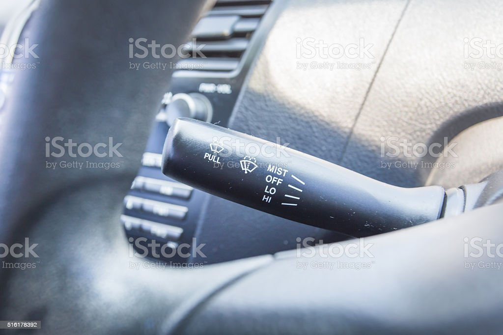 Switch on the light in car stock photo