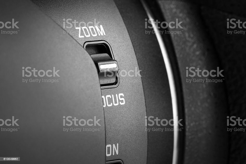 Switch on zoom lens stock photo