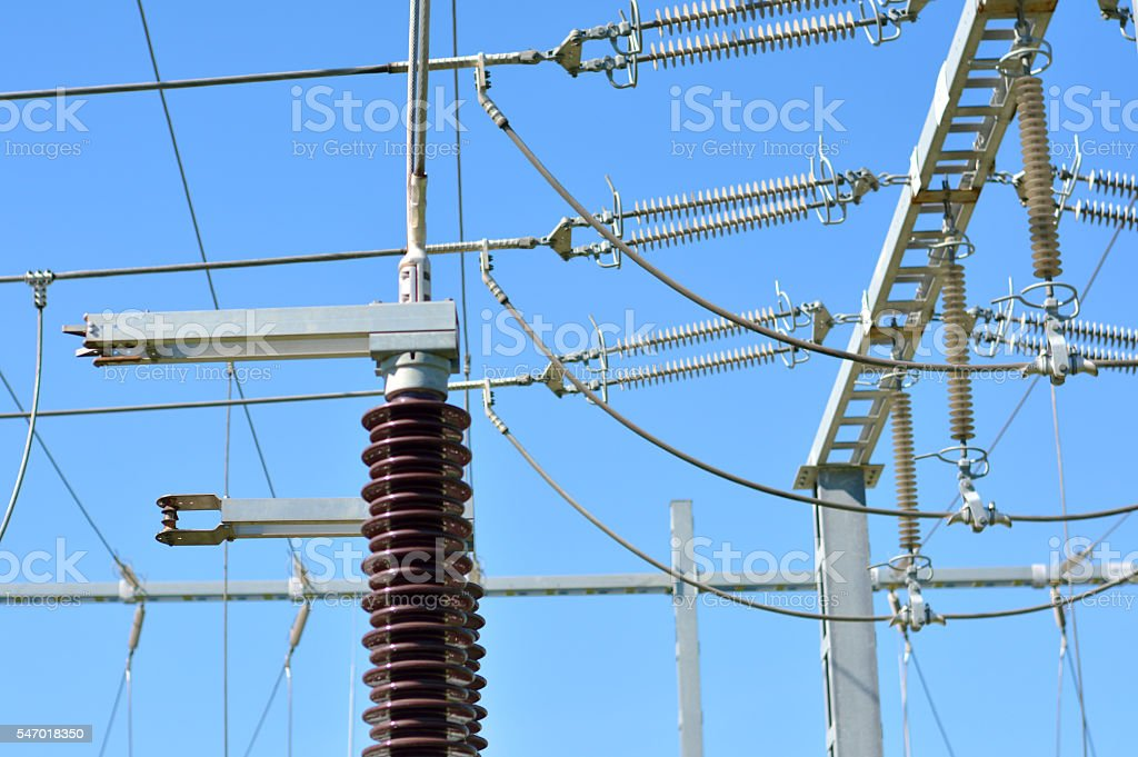 Switch Yard and Wires in the Power Substation stock photo